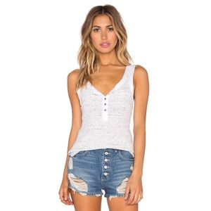 Free People Time Out Tank Black Ivory Small